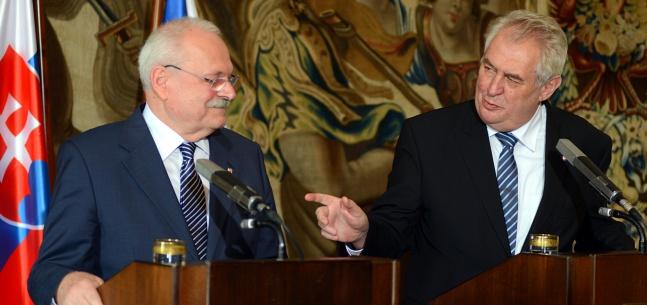 Projev prezidenta republiky během tiskové konference se slovenským prezidentem Ivanem Gašparovičem