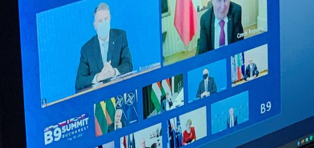 Vystoupení prezidenta republiky při videokonferenci s prezidenty B-9